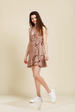 Платье мини на запах горох